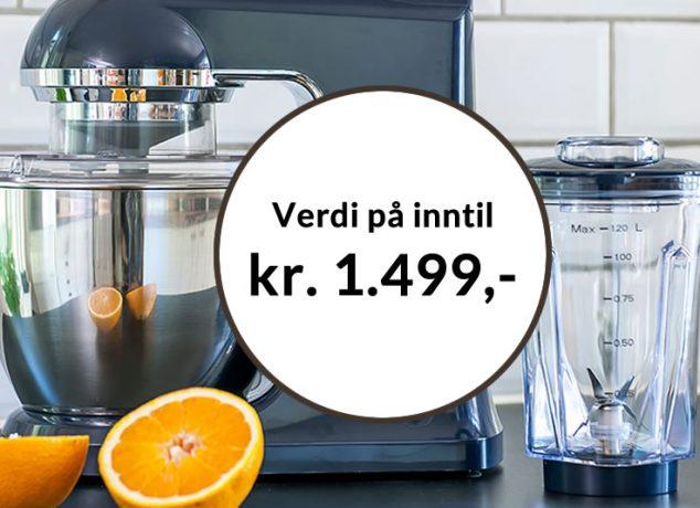 Få Kjøkkenmaskin Chef Classic+ mørkeblå gratis som velkomstgave fra Bokklubben Nye Bøker